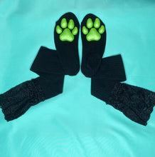 Load image into Gallery viewer, Green Puppy ToeBeanies on Black Socks w/ Lace