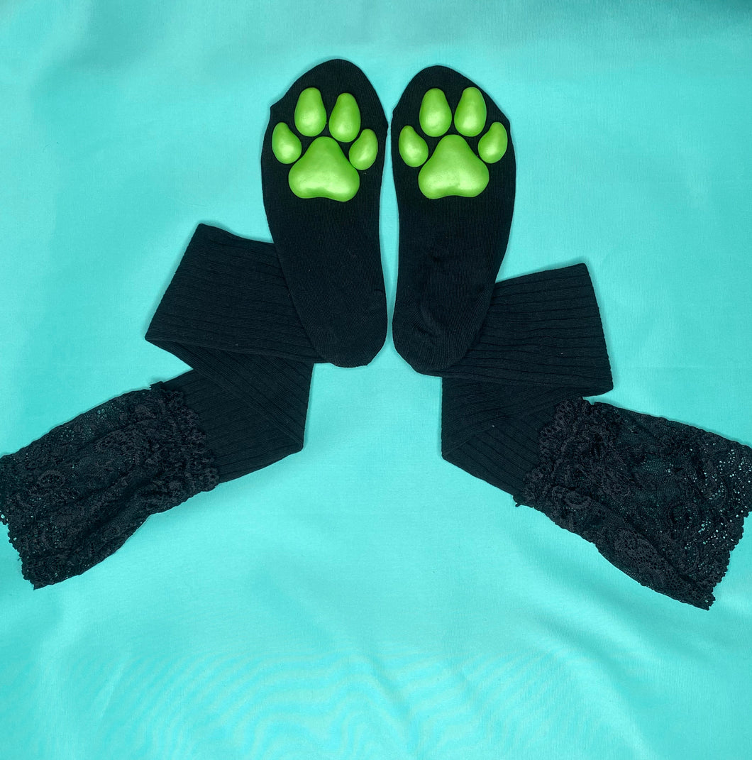 Green Puppy ToeBeanies on Black Socks w/ Lace