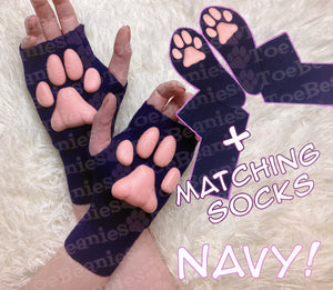 PREORDER MATCHING SET ToeBeanies Pink Kitten Pawpads on Navy Mittens + Socks