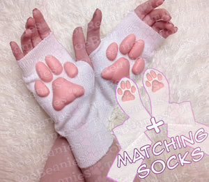PREORDER MATCHING SET ToeBeanies Pink Kitten Pawpads on White Mittens + Socks