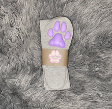 Load image into Gallery viewer, Purple Kitten ToeBeanies on Above the Knee Light Grey Socks
