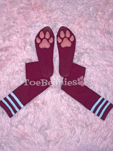 Maroon w/ White Striped Socks with Pink ToeBeanies