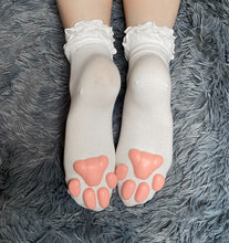 Load image into Gallery viewer, Teal Kitten ToeBeanies on Ankle High White Ruffle Socks
