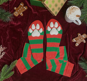 """Powdered Snow"" ToeBeanies on Red and Green Striped Socks"
