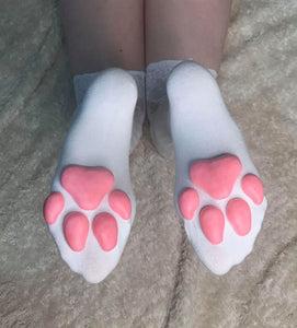 Purple Kitten ToeBeanies on Above the Knee Light Grey Socks