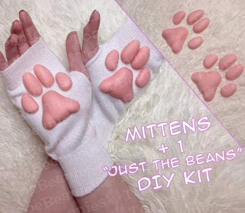 PREORDER SET OF ToeBeanies Pink Kitten Pawpads on White Mittens +