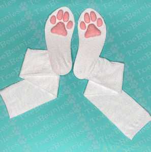 PREORDER Pink ToeBeanies on Solid White Socks