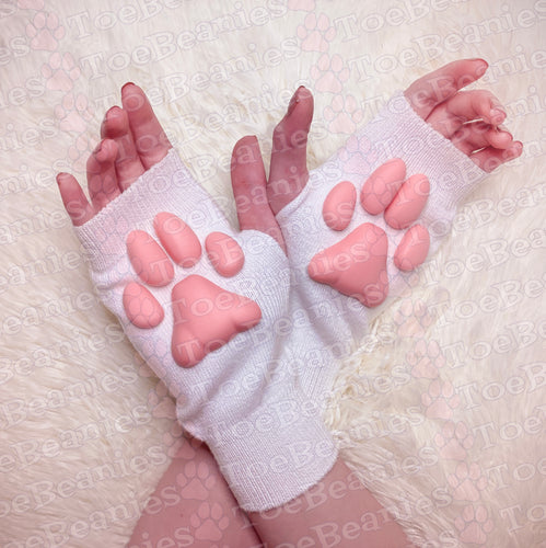 PREORDER ToeBeanies Pink Kitten Pawpads on White Mittens