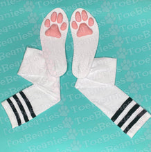 Load image into Gallery viewer, PREORDER Pink Kitten ToeBeanies on White w/ Black Striped Socks