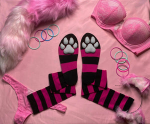 PREORDER CUSTOM COLOR Hot Pink & Black Striped ToeBeanies