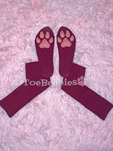 Solid Maroon Socks with Pink ToeBeanies