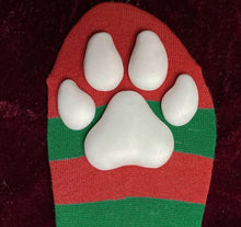 "Load image into Gallery viewer, ""Powdered Snow"" ToeBeanies on Red and Green Striped Socks"