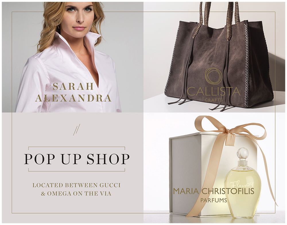 Pop-Up Shop Now Open with Maria Christofilis Parfums and Callista Crafts Handbags