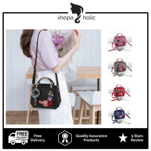 Floral Designed Women Sling Satchel Handbag