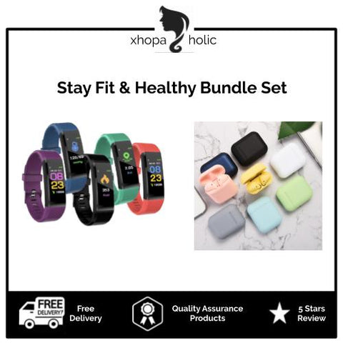 [Stay Fit Bundle Set] [2 Items @ RM75] Fitness Sports Smartwatch + i12 TWS Wireless Bluetooth Earphone