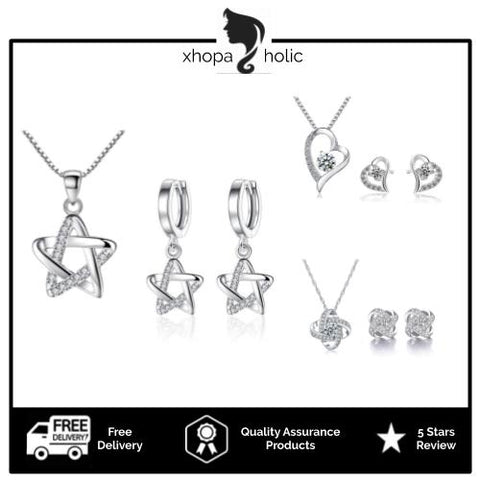 [Necklace Earring Set at RM60] [Come With Jewellery Box] Luxury Silver Necklace and Earring Set