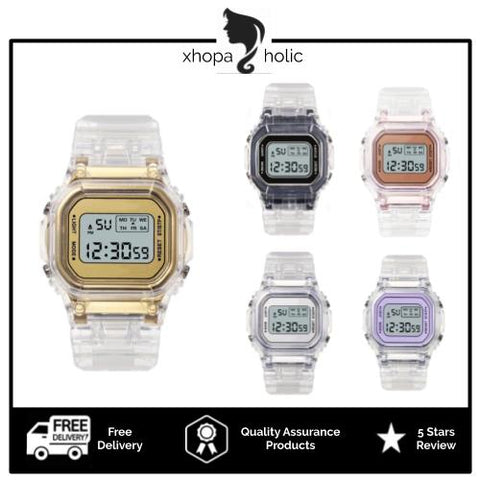 [Bundle for 2 @ RM35] [100% Ready Stock] Transparent Colourful Unisex Multi-Functional LED Watch