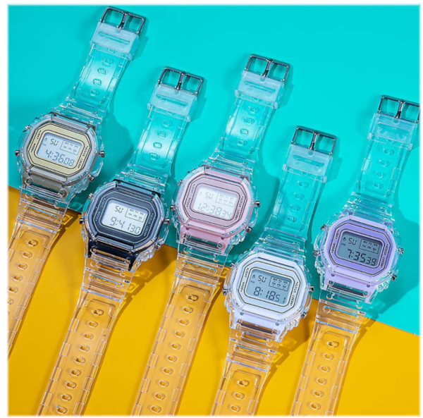 [Bundle for 2 @ RM45] [100% Ready Stock] Transparent Colourful Unisex Multi-Functional LED Watch