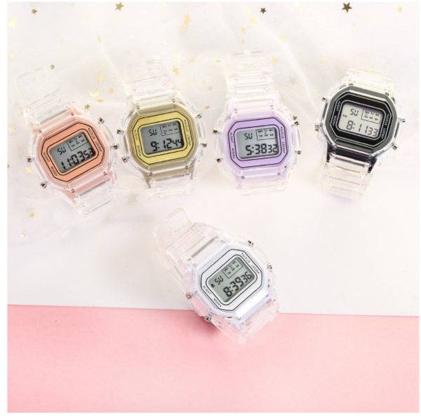 Transparent Colourful Unisex Multi-Functional LED Watch