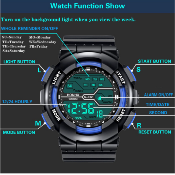 [Bundle for 2 @ RM50] [100% Ready Stock] Classic Designed Multi-Functional Unisex LED Digital Watch