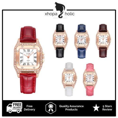 [Bundle for 2 @ RM35] [100% Ready Stock] Luxury Rhinestone Square Designed Women Leather Watch