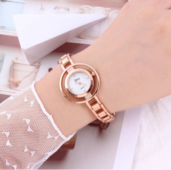 [100% Ready Stock] Elegant Rhinestone Marble Bracelet Women Watch