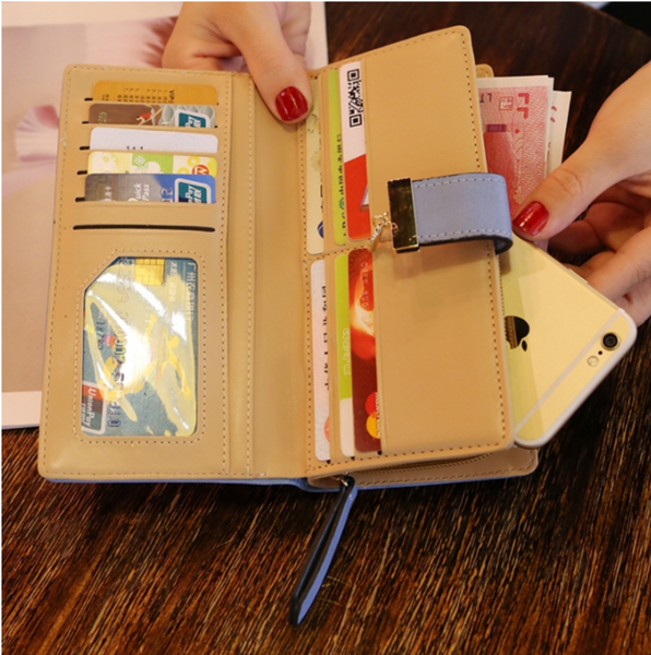 [100% Ready Stock] Premium PU Leather Floral Designed Women Long Purse