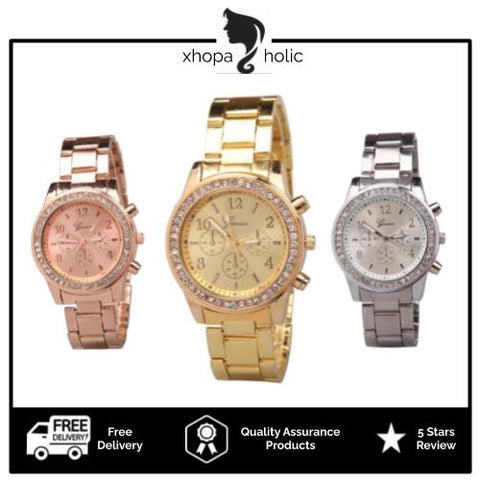 [Bundle For 2 @ RM45] [100% Ready Stock] Luxury Rhinestone Chronograph Designed Women Stainless Steel Watch