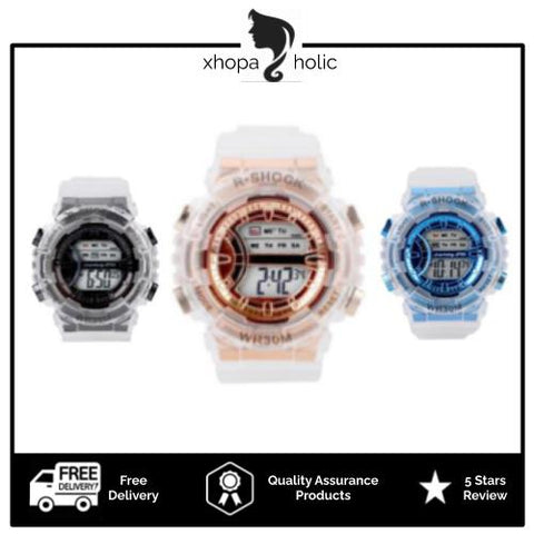 [100% Ready Stock] Transparent Stylish Unisex Multi-Functional LED Watch