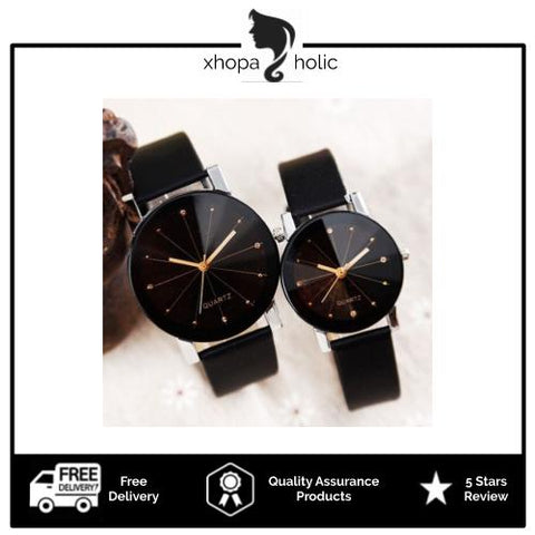 Quartz Fashionable Couple Stainless Steel Leather Analog Women Sport Watch