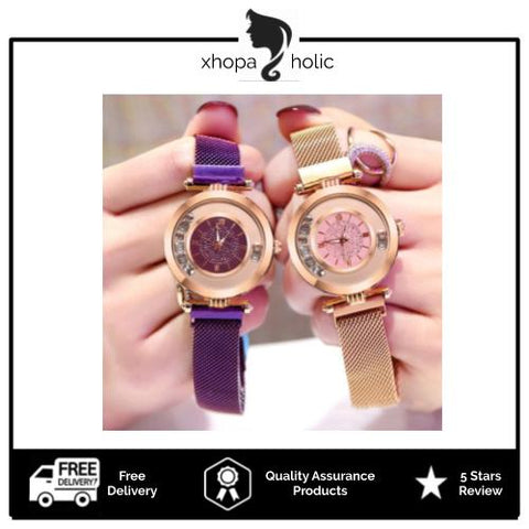 Starry With Sky Diamond Magnetic Buckle Stainless Steel Women Watch