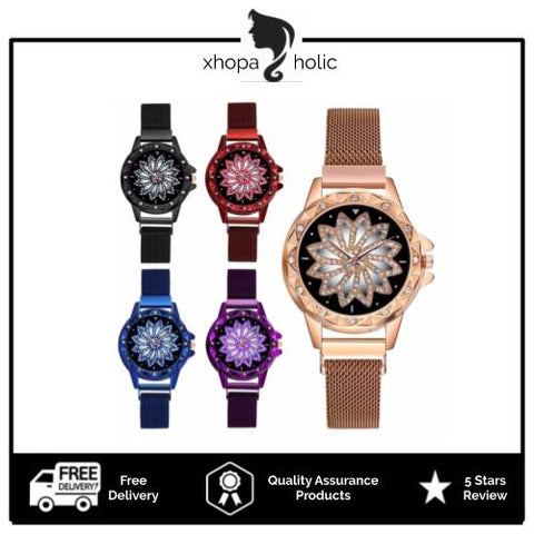 Flower Designed Luxury Women Magentic Watch