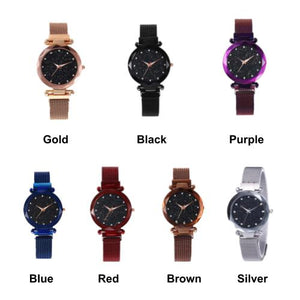 [2 For RM35] [100% Ready Stock] Starry Diamond Magnetic Buckle Stainless Steel Women Watch