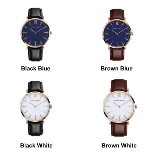 [Bundle for 2 @ RM45] [100% Ready Stock] HANNAH MARTIN Classic Leather Luxury Unisex Watch