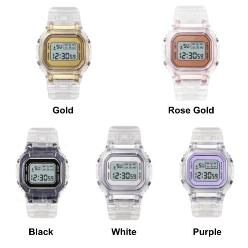[Bundle for 3 @ RM65] [100% Ready Stock] Transparent Colourful Unisex Multi-Functional LED Watch