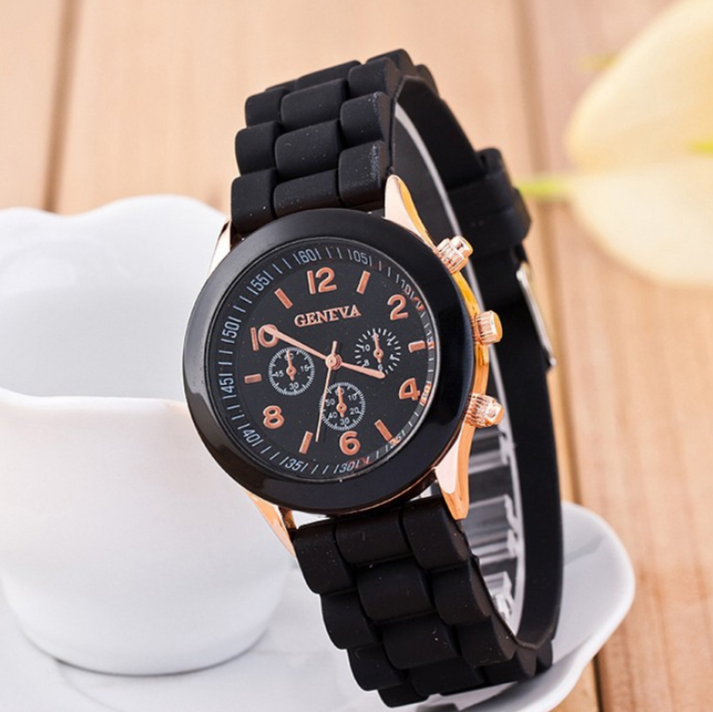 Stainless Steel Sili Strap Analog Women Watch