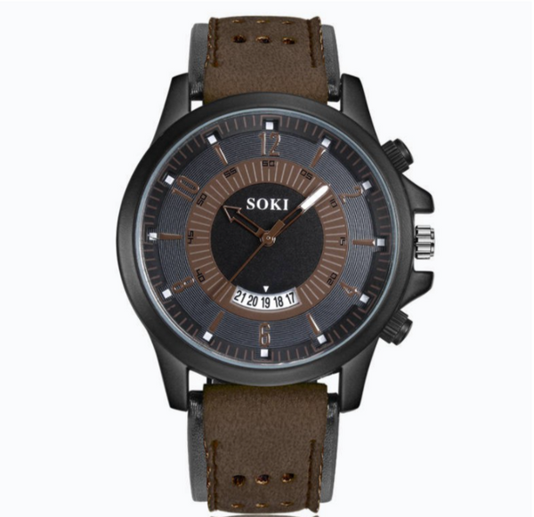 Military Calendar Unisex Leather Sport Watch