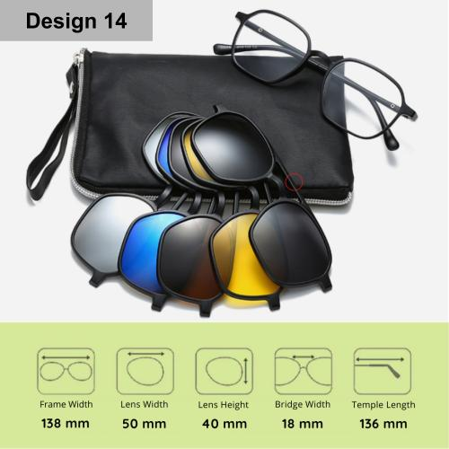 [100% Ready Stock] [Free Pouch] Stylish Polarized 6 In 1 Magnetic Clip Unisex Sunglasses
