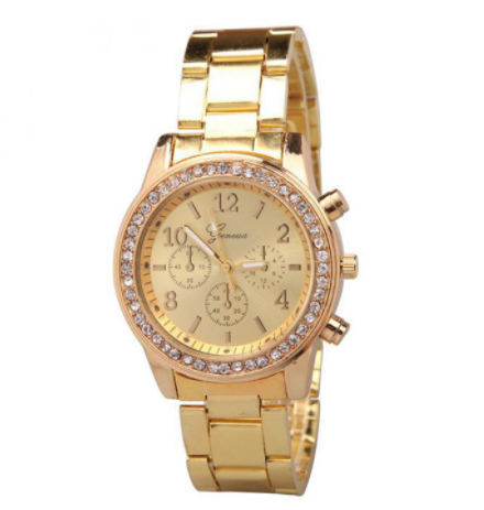 [100% Ready Stock] Luxury Rhinestone Chronograph Designed Women Stainless Steel Watch