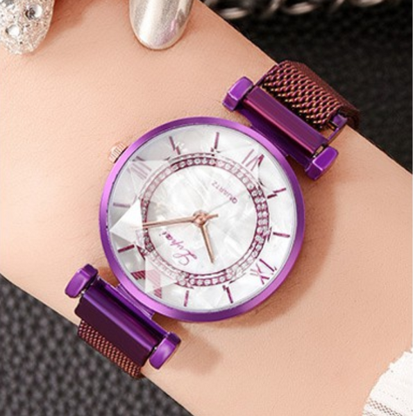 [100% Ready Stock] Fantasy Shine Pearl Diamond Luxury Magnetic Women Watch