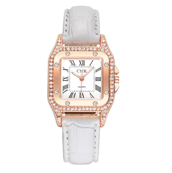 [100% Ready Stock] Luxury Rhinestone Square Designed Women Leather Watch