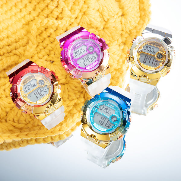 [100% Ready Stock] Transparent Rainbow Colour Unisex Multi-Functional LED Watch