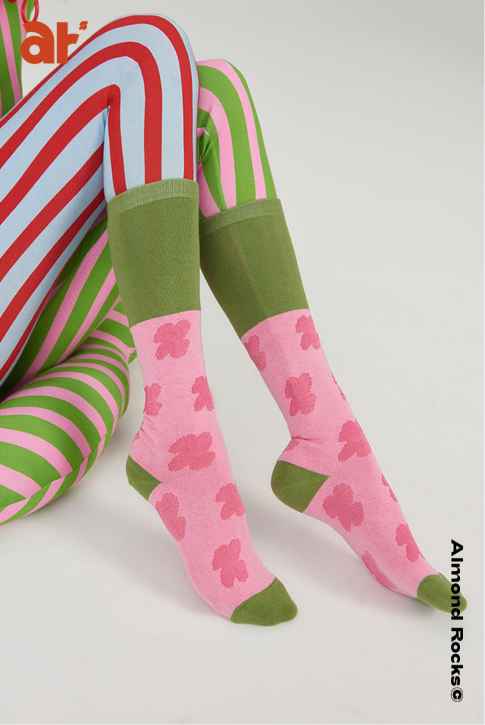 Floral splice over-the-calf sock in 2 colours