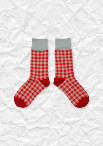 Gingham mid-calf sock in 2 colours