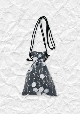 Embroidery 3D flower drawstring shoulder pouch
