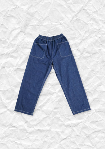 Baggy pocket high waist straight jeans in blue