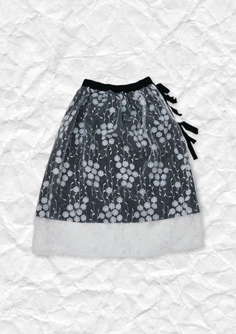 Embroidery 3D flower lace up skirt