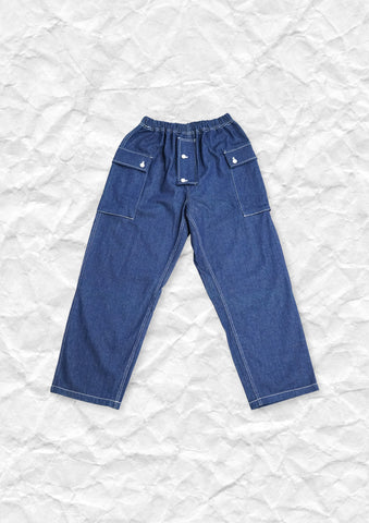 Baggy button pocket high waist straight jeans in blue