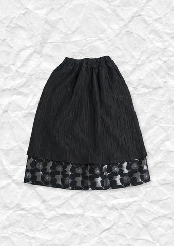 Double layer textured floral skirt in black