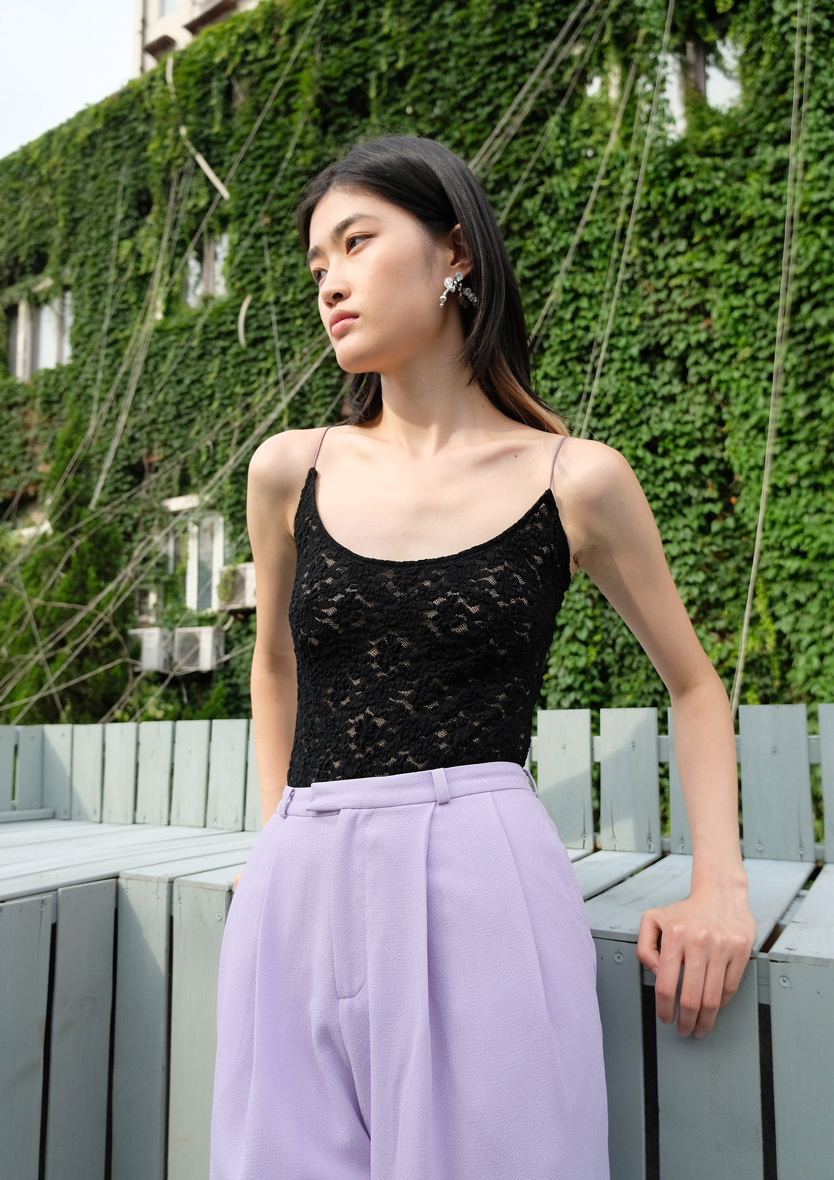 Floral lace see-through sling bodysuit in black